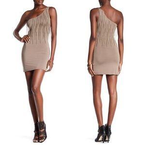 SKY Brand Chain Fringe One Shoulder Dress Olive